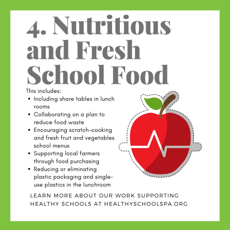 4. Nutritious and Fresh School Food This includes: • Including share tables in lunch MOMS • Collaborating on a plan to reduce food waste • Encouraging scratch-cooking and fresh fruit and vegetables school menus • Supporting local farmers through food purchasing • Reducing or eliminating plastic packaging and single-use plastics in the lunchroom LEARN MORE ABOUT OUR WORK SUPPORTING HEALTHY SCHOOLS AT HEALTHYSCHOOLSPA.ORG