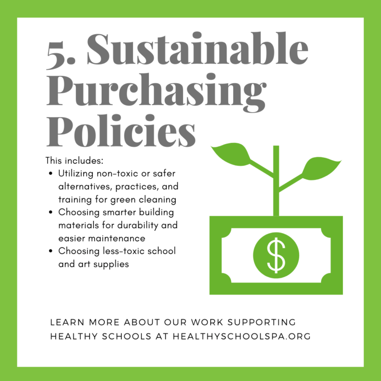 5. Sustainable Purchasing Policies This includes: • Utilizing non-toxic or safer alternatives, practices, and training for green cleaning • Choosing smarter building materials for durability and easier maintenance • Choosing less-toxic school and art supplies LEARN MORE ABOUT OUR WORK SUPPORTING HEALTHY SCHOOLS AT HEALTHYSCHOOLSPA.ORG