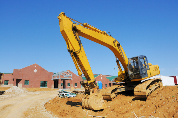 Excavator Heavy Equipment on Construction Site